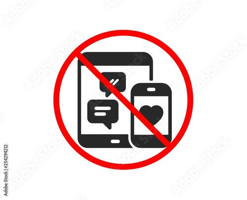 No or Stop  Social media messages icon  Mobile devices sign