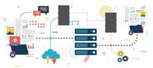 File Sharing And Data Backup. Shared Data, Documents, Videos And Photos. Internet Computer Users Download Files Safely. Template In Flat Design For Web Banner Or Infographic In Vector Illustration.