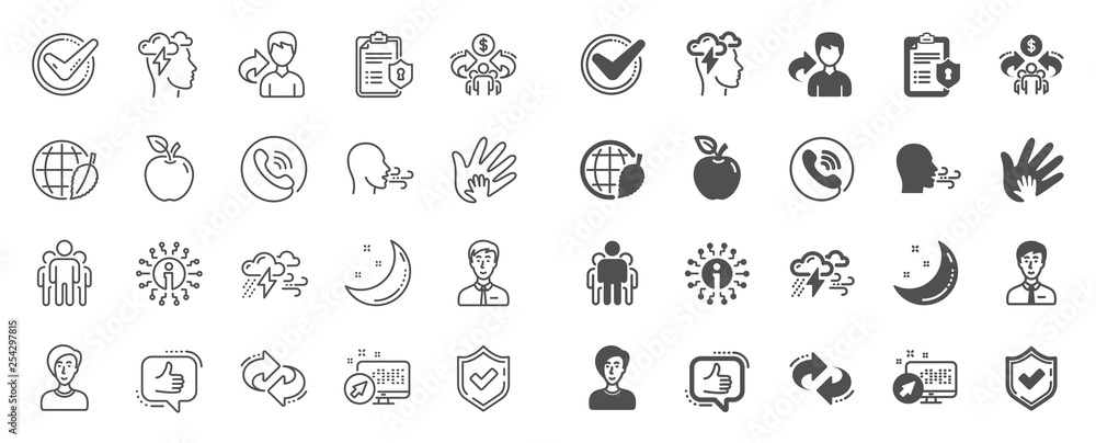 Fototapeta Check mark, Sharing economy and Mindfulness stress, Breath people line icons. Privacy Policy, Social Responsibility, Breath icons. Bad weather, Tick check mark, sharing refer, stress. Quality sign set