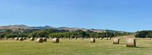 Round Hay Bales At Tai Tapu Canterbury New Zealand