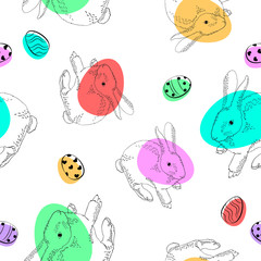 hand drawn hares with color...
