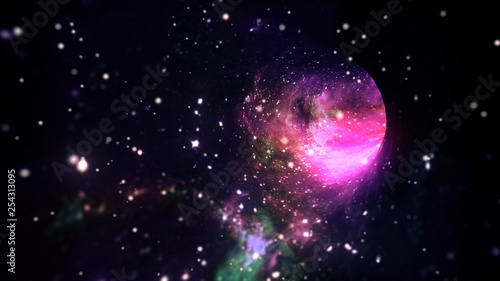 Interstellar travel in hyperspace wormhole portal with stars