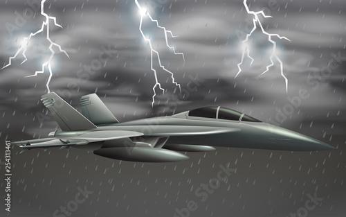 Samolot wojskowy na niebie o złej pogodzie