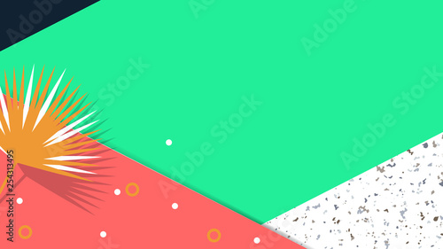 Minimalist abstract background, triangle shapes with leaves