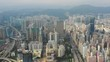 day time flight over kowloon cityscape aerial topdown panorama 4k hong kong