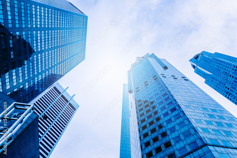 Fototapety, obrazy: Modern office building skyscrapers, high-rise buildings, architecture raising to the sky, top view background in blue style colors, Concepts of financial, economics, future etc.