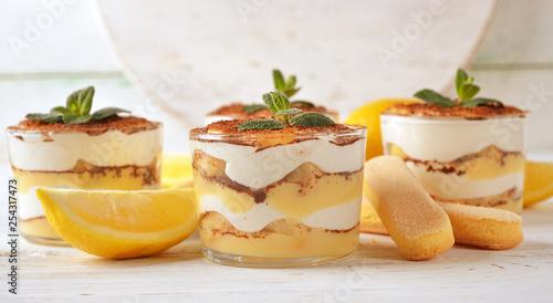 Lemon tiramisu dessert Canvas Print