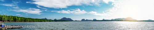 Fényképezés  Beautiful tropical Thailand island panoramic with beach, white sea and coconut palms with sunrise for holiday vacation background concept, point unseen in Thailand travel location