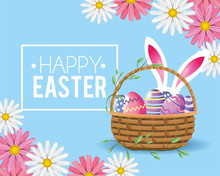 Happy Easter Rabbit And Eggs Decoration Inside Basket