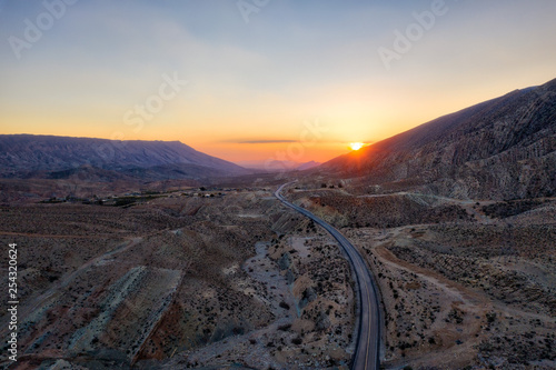 Fotografie, Obraz  Road through the Zagros Mountains in South Iran taken in January 2019 taken in h
