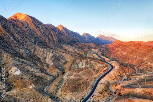 Road through the Zagros Mountains in South Iran taken in January 2019 taken in hdr