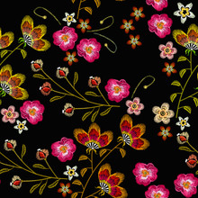 Embroidery Flowers Seamless Pa...