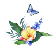 Watercolor Vector Composition Tropical Leaves, Flowers And Butterfly.
