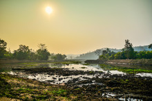 Landscape Swamp With Mud Sunrise In The Morning Tree And Mountain Background
