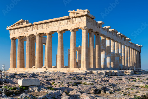 Parthenon temple at morning time with blue sky in the background, Acropolis, Athens, Greece Canvas Print