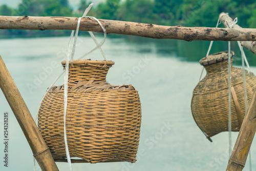 Fotografia, Obraz  Ancient bamboo fish trap equipment of countryside, Thailand