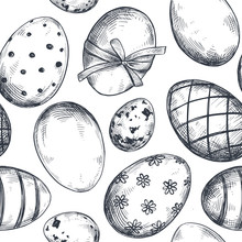 Vector Seamless Pattern With Hand Drawn Ornate Easter Eggs.
