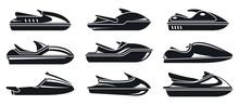 Water Jet Ski Icons Set. Simpl...