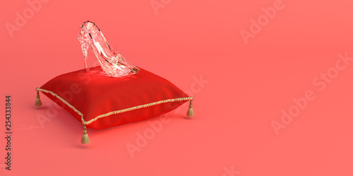 3D-illustration of Cinderella's glass slipper on a pink coral background Fotobehang