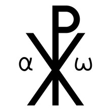 Crismon Symbol Cross Monogram Xi Hi Ro Konstantin Symbol Saint Pastor Sign Religious Cross Alfa Omega Icon Black Color Vector Illustration Flat Style Image