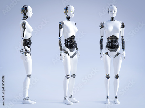 3D rendering of female robot standing, three different angles. Fototapete