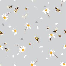 Soft And Gentle  Pretty Daisy Floral Print  Blowing In The Wind Design With Bumble Bees Seamless Pattern In Vector For Fashion ,fabric ,wallpaper And All Prints