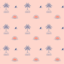 Summer Trendy Tropical Palm Tree Island ,wave,sun,beach, Fin Shark Minimal Repeat Seamless Pattern Design For Fashion,fabric,wallpaper,web And All Prints