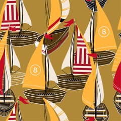 Fototapeta Marynistyczny Vintage hand drawn boat on the ocean seamless pattern in vector design for fashion,fabric,web,wallpaper,and prints