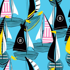 Panel Szklany Marynistyczny Colorful and bright Summer Seamless pattern in vector hand drawn boat on the ocean design for fashion,fabric,web,wallpaper,and prints