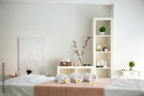 Fotografie, Obraz  Soft towels on table in spa salon