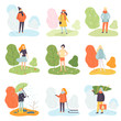 Different Seasons Set, Winter, Spring, Summer and Autumn, People in Seasonal Clothes in Nature Vector Illustration