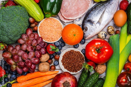 Obraz Pegan diet foods on wooden table - fototapety do salonu