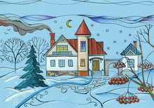 Winter Scene In Village. Colorful Drawing Of House In Snowy Garden At Night.