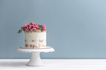 Sweet Cake With Floral Decor O...