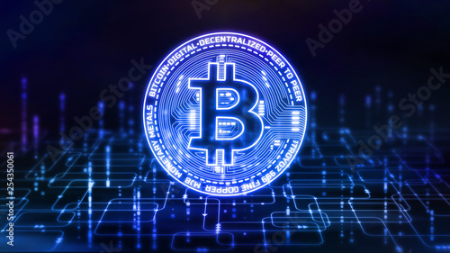 3D Rendering of Bitcoin (BTC) on abstract computer software