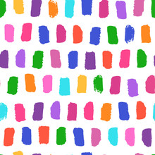 Vector Seamless Pattern With Bright Brushstrokes Hand Painted. Dynamic Striped Print Texture Illustration