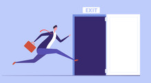 Businessman Run To Open Exit Door. Emergency Escape And Evacuation From Office Vector Business Concept. Illustration Of Businessman Run To Door Exit, Escape Direction