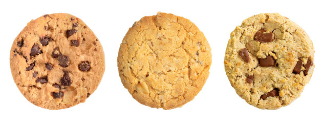 Different chocolate chip and oat cookies isolated on white background.
