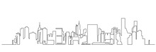Modern Cityscape Continuous One Line Vector Drawing