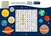 Educational Game For Kids. Word Search Puzzle With Solar System. Kids Activity Sheet,