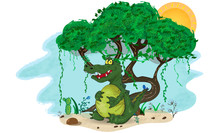 Colorful  Cartoon Illustration Of Fat Dangerous Crocodile Under The Tree.  Wild Angry Satiated Alligator Keeping His Belly Under The Tree. Vector Art