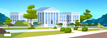 Supreme Court Building With Columns Government House Of Justice Exterior Architecture Design Courthouse Front Yard With Green Grass And Trees Landscape Horizontal Banner Flat
