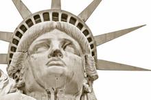 New York City, Visage Statue De La Liberté, Traité En Blanc