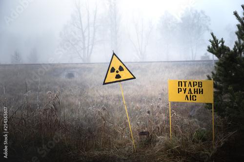 Fotografia Radioactivity sign in Chernobyl Outskirts 2019