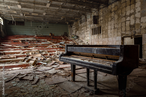 Large abandoned music hall in Pripyat, Chernobyl Exclusion Zone 2019 - 254363630