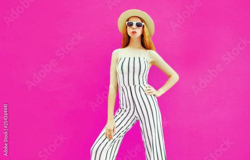4f0bacbd6fd7 stylish woman in summer round straw hat