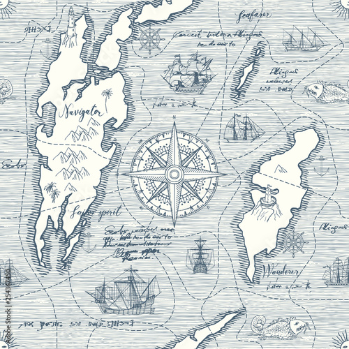 In de dag Schip Vector abstract seamless background on the theme of travel, adventure and discovery. Old hand drawn map with vintage sailing yachts, wind rose, routs, nautical symbols and handwritten inscriptions