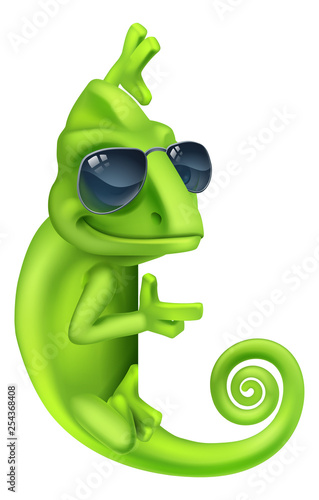 A chameleon cool green lizard cartoon character in sunglasses illustration Wall mural