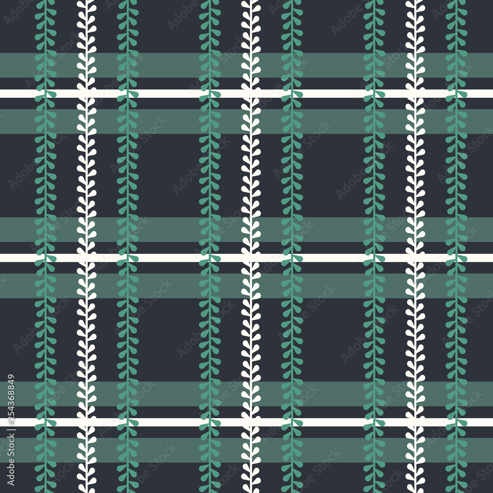 Vector Folklore Plaid with Periwinkle seamless pattern background.