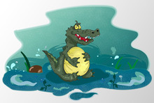 Cartoon Fat Severe Crocodile.  Angry Satiated Alligator With Huge Belly. Vector Colorful Illustration Of Wild Dangerous Crocodile Sitting In The Water And Keeping His Belly.